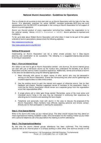 Aiesec national alumni association guidelines by aiesec national alumni association guidelines for operations this is a guide for all countries to kick start and run an alumni association with the help of a few stopboris Gallery