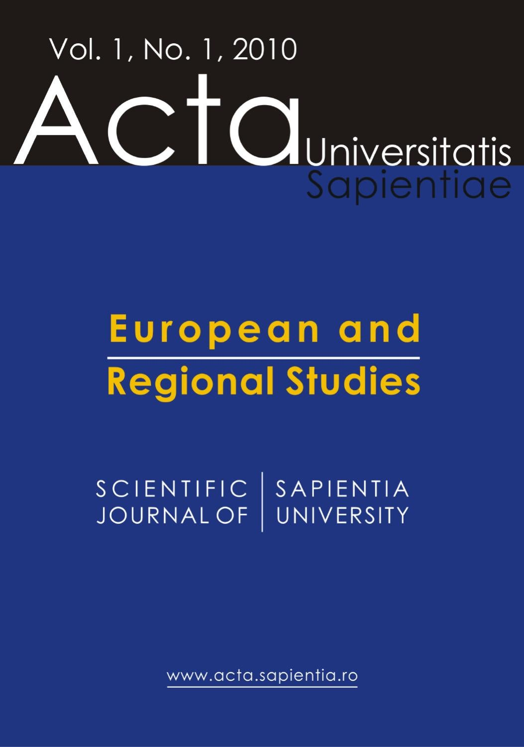 European and Regional Studies Vol  1, No  1, 2010 by Acta