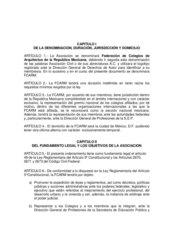 Estatutos de la fcarm by colegio de arquitectos de la ciuad de guanajuato a c issuu - Abreviatura de arquitecto ...