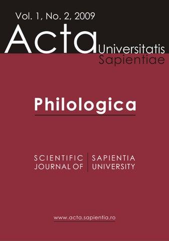 Philologica Vol 1 No 2 2009 By Acta Universitatis Sapientiae Issuu