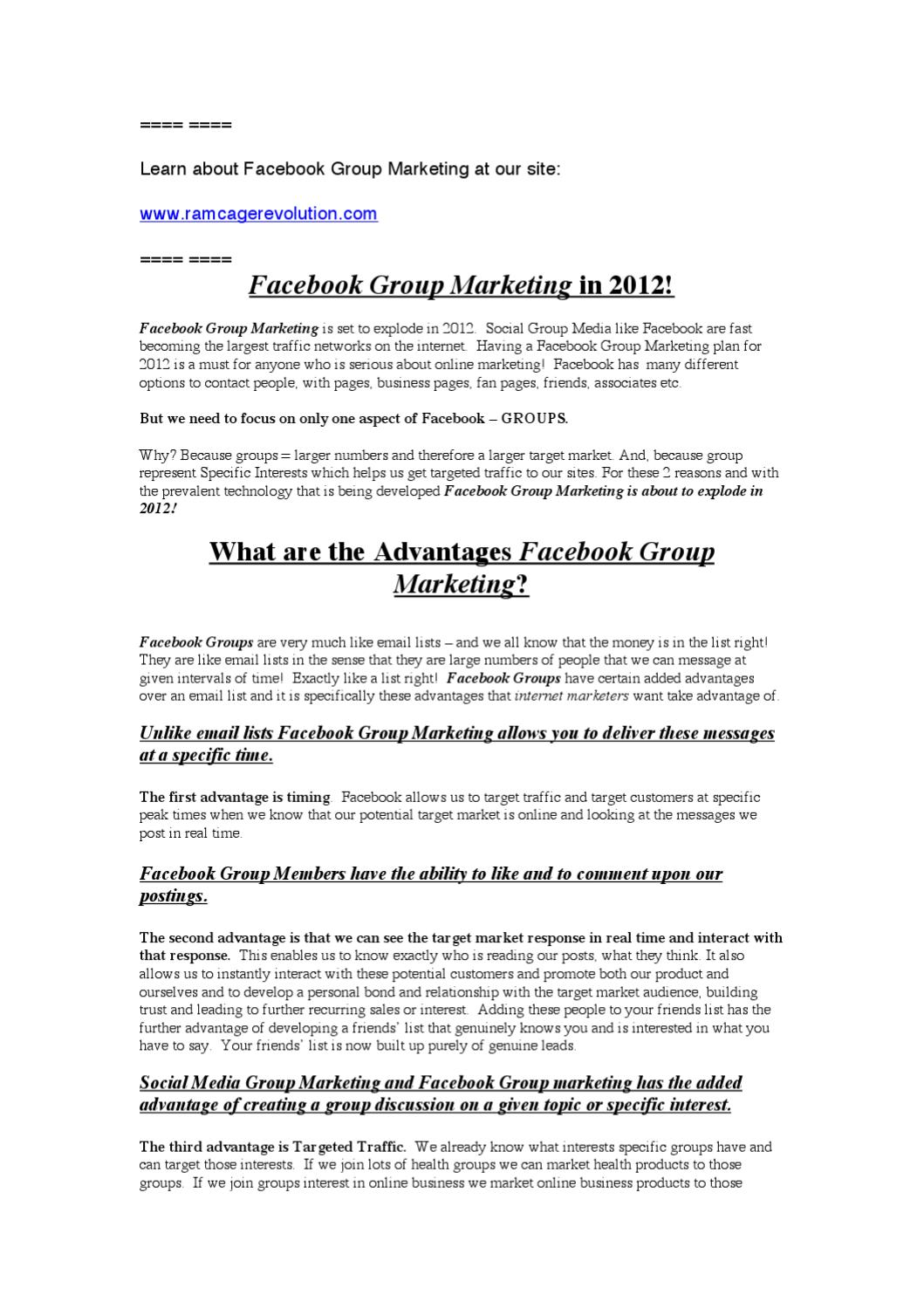 Facebook Group Marketing in 2012 by Paul Rushton - issuu
