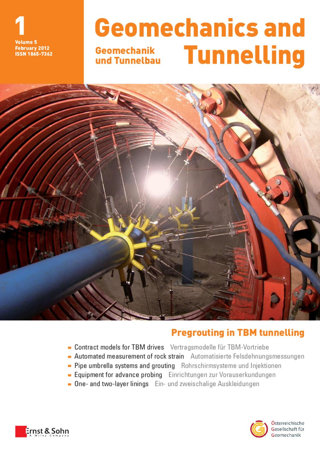 Geomechanics And Tunnelling 012012 Free Sample Copy By Ernst Sohn