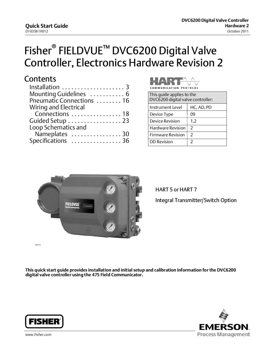 page_1 dvc6200 quick start guide elctrncs hrdwre rev 2 oct 2011 by rmc fisher dvc 2000 wiring diagram at eliteediting.co