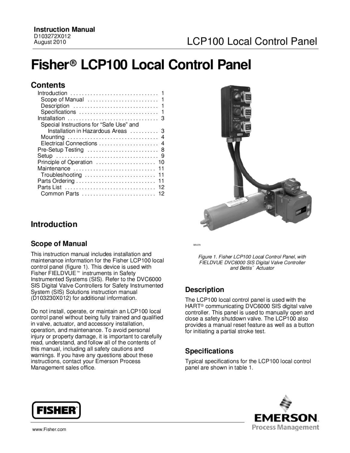 LCP100 Control Panel Instruction Manual Aug 2010 by RMC Process ...
