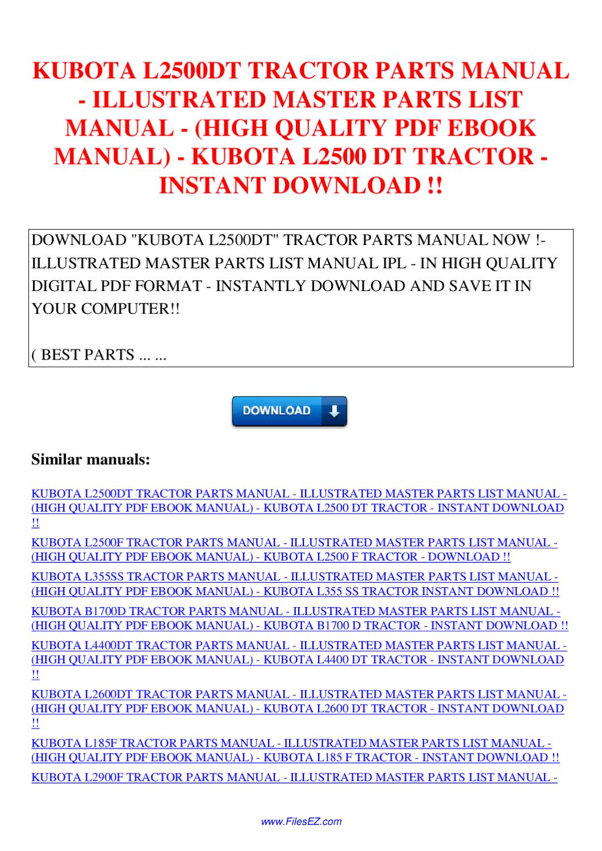 Kubota L2500dt Tractor Parts Manual Illustrated Master border=