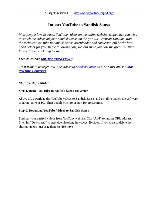 Import YouTube to Sandisk Sansa