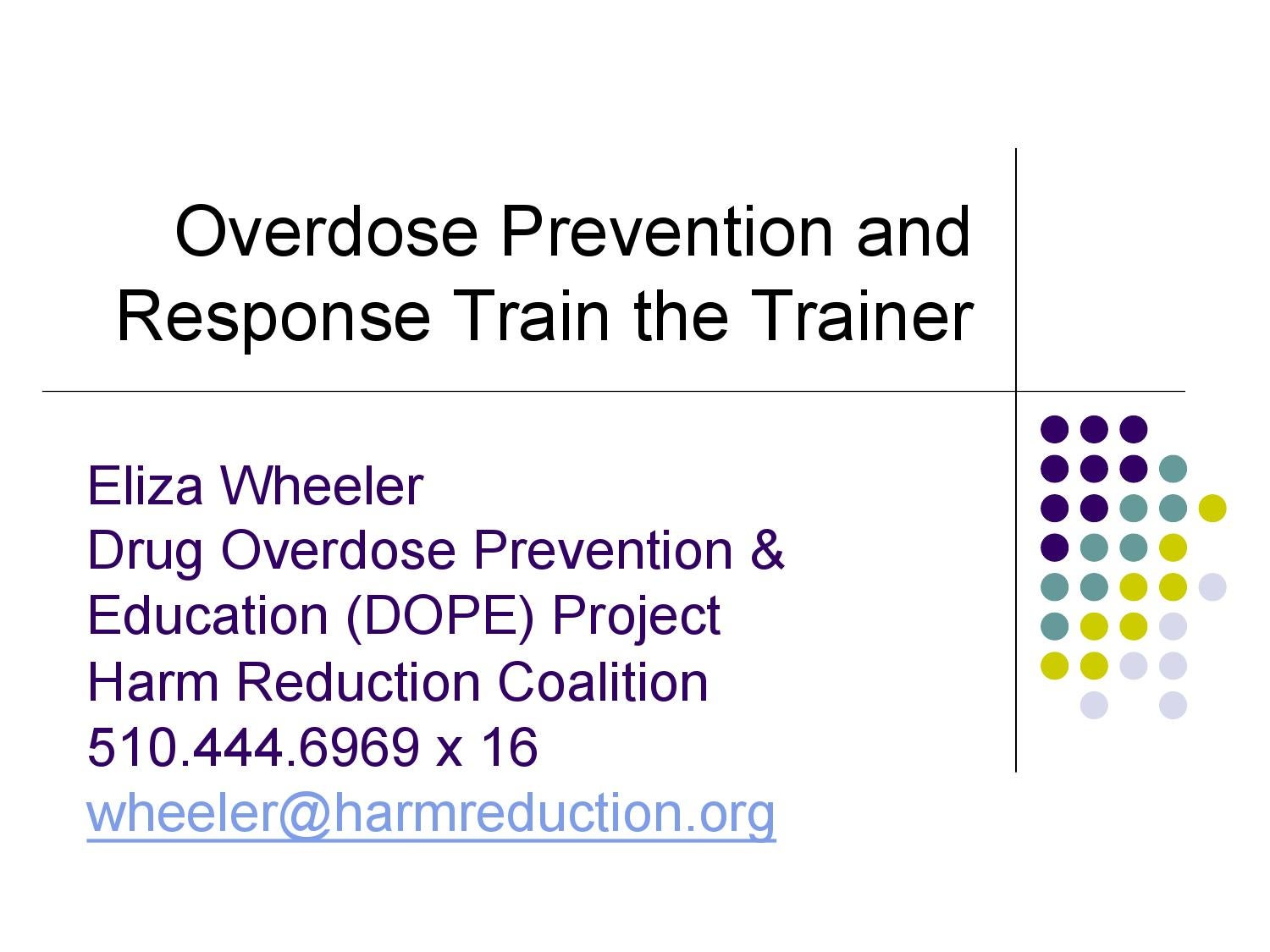 Overdose Prevention and Response Train the Trainer by Harm
