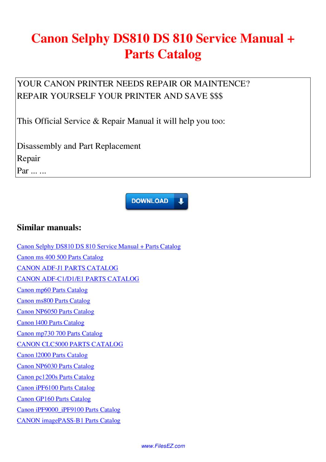 Canon Selphy Ds810 Ds 810 Service Manual Parts Catalog By border=