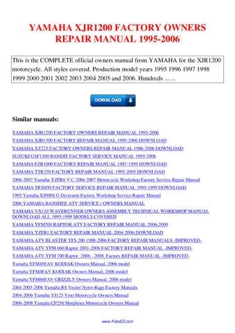 Yamaha Xjr1200 Factory Owners Repair Manual 1995 2006 By border=