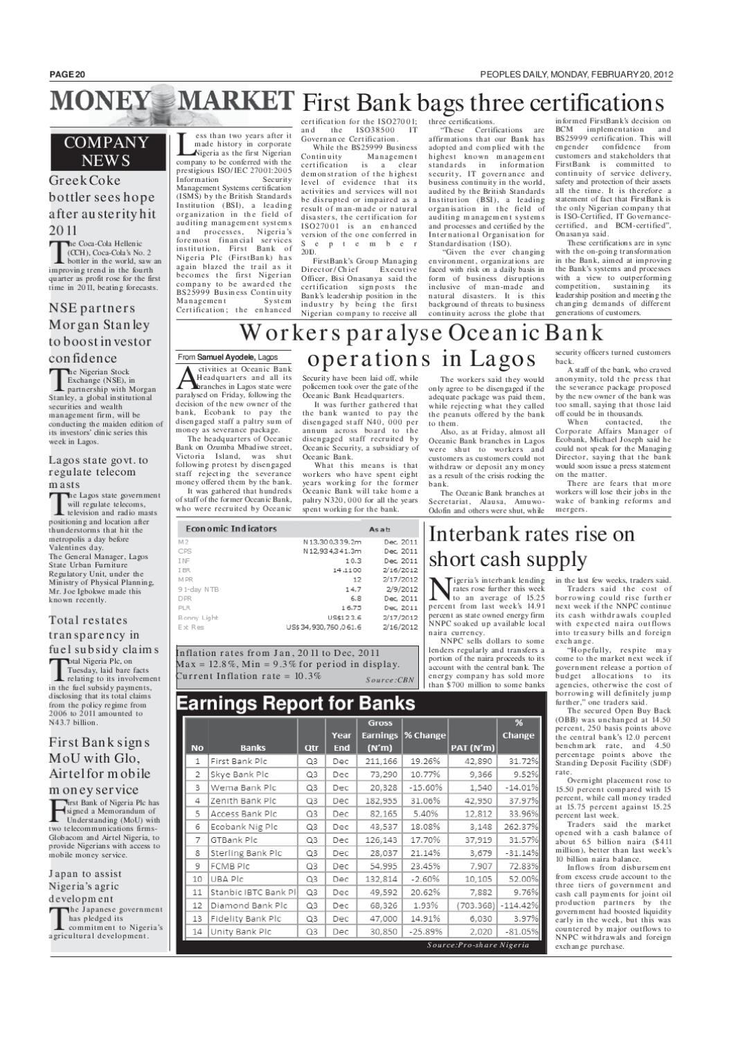 Peoples Daily Newspaper, Monday, February 20, 2012