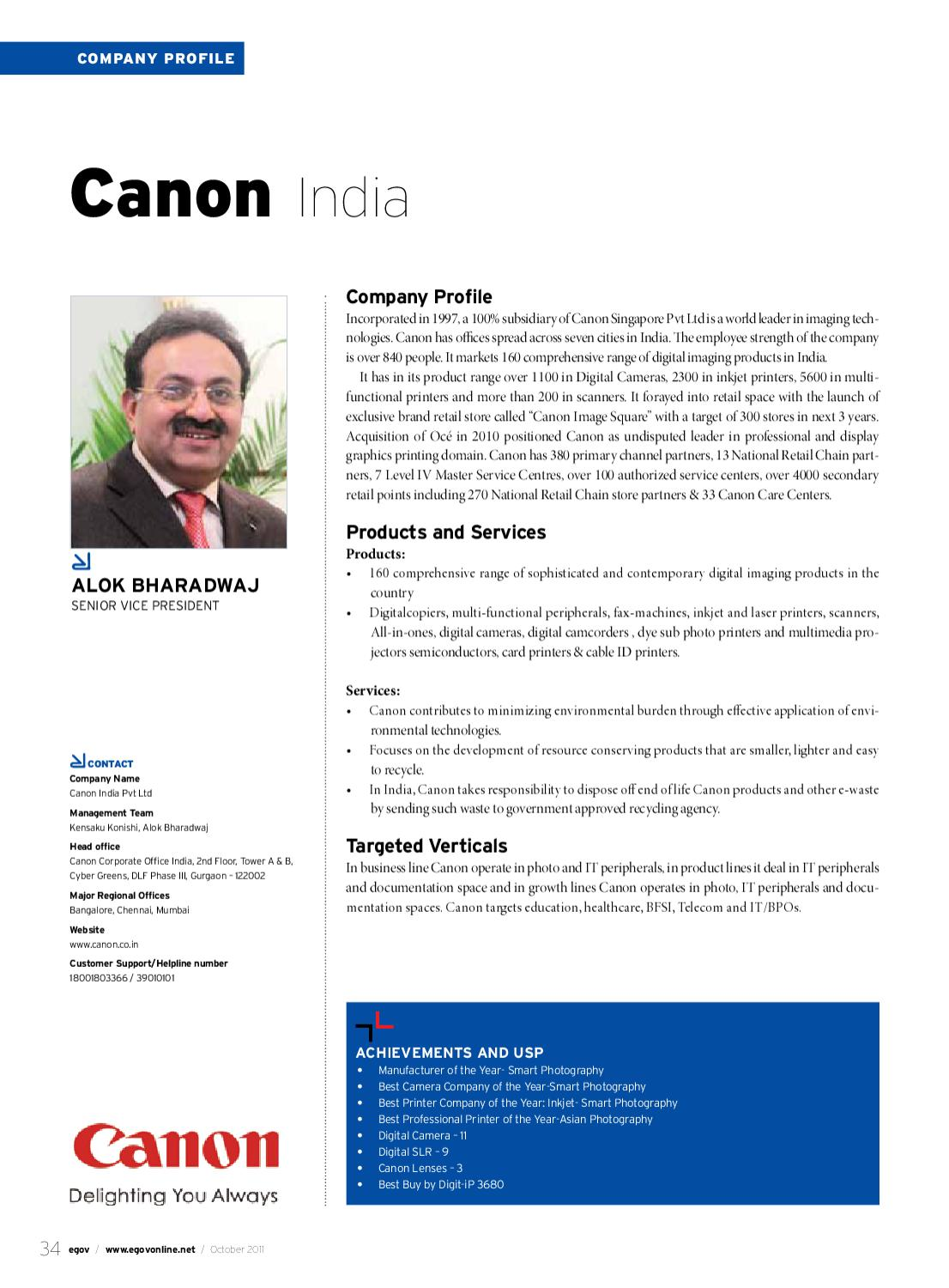 eGov-Oct-2011-[34]-Company Profile-Canon India-Alok Bharadwaj by
