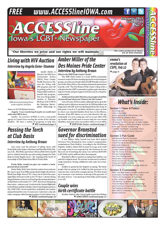 ACCESSline, Iowa's LGBT+ Newspaper, February 2012 Issue, Volume 26 No 2