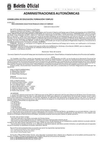 Calendario Laboral Castellon.Calendario Laboral 2012 Construccion Castellon By Assessoria Estatut