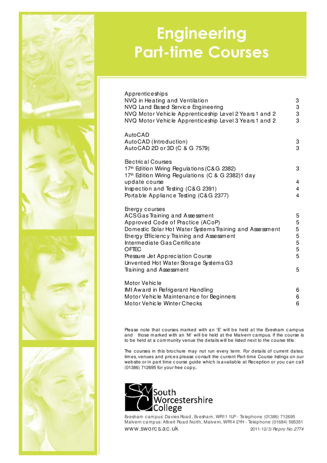 Engineering Part Time Courses By South Worcestershire College Issuu Domestic Wiring Regulations