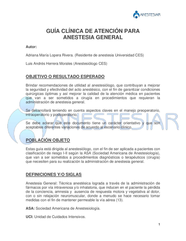 General inhalada de anestesia tipos