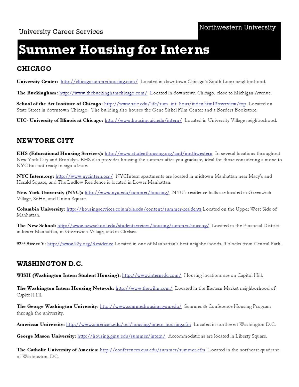 Summer Housing for Interns by Northwestern University Career
