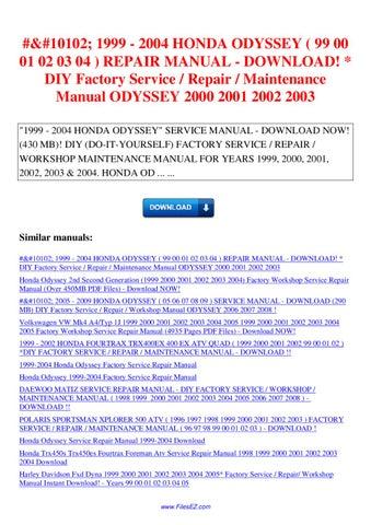 2005 honda odyssey maintenance manual