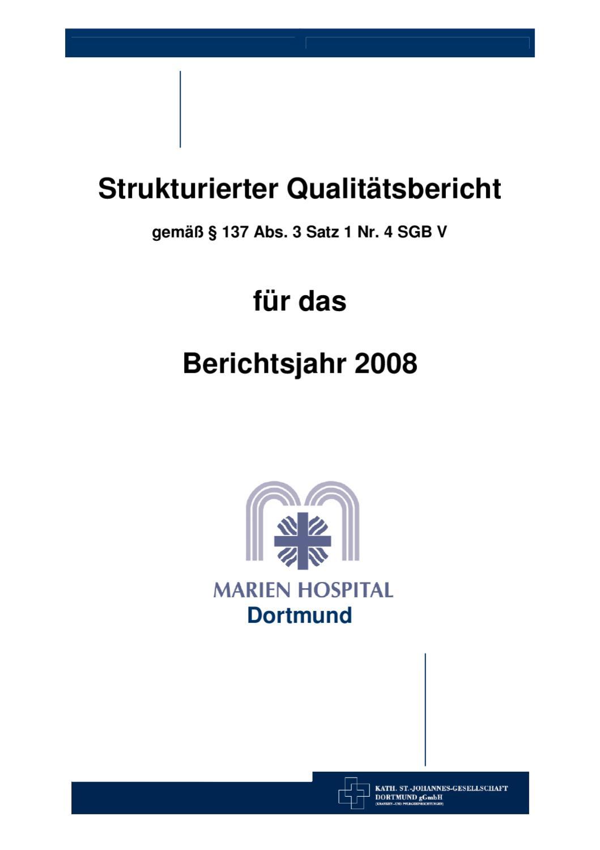 Qualitätsbericht 2008 - Marien Hospital by Kath. St.-Johannes ...