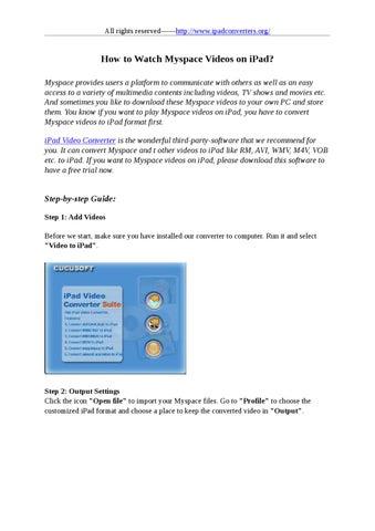 Watch Myspace Videos on iPad by stafenia sun - issuu