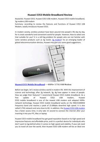 Huawei E353 Mobile Broadband Review by fand li - issuu
