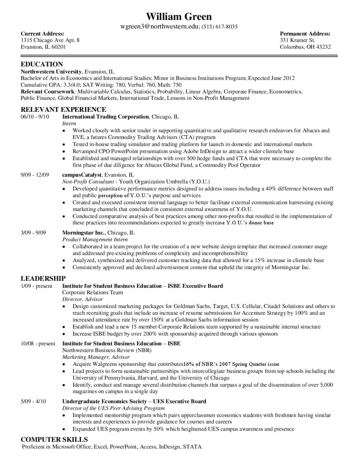 Consulting Resume Sample by Northwestern University Career Services