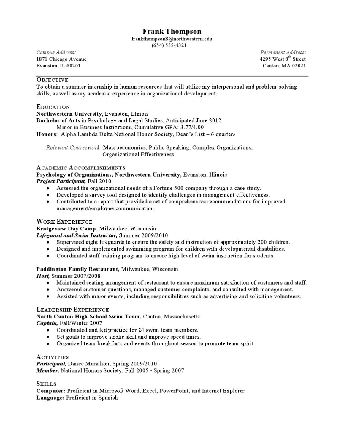 Internship Resume Sample - Less Experienced by Northwestern ...