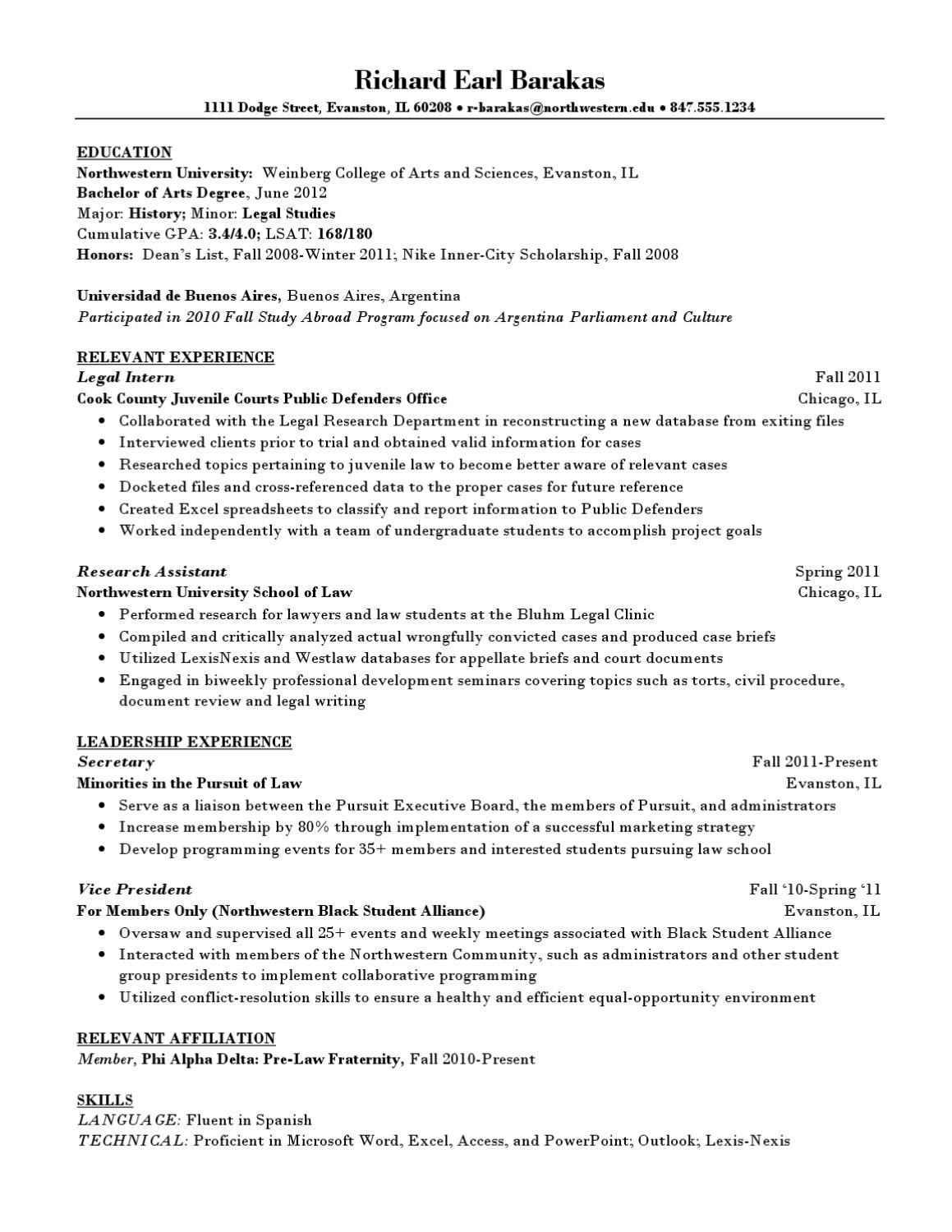 northwestern university resume samples