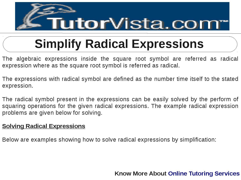 Simplify Radical Expressions By Tutorvista Team Issuu