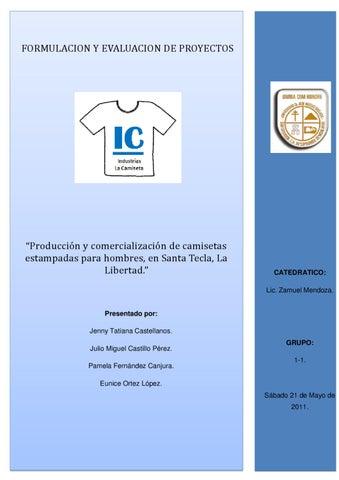 """Page 1. FORMULACION Y EVALUACION DE PROYECTOS. """"Producción y  comercialización de camisetas estampadas ... d3a8e5225ce16"""