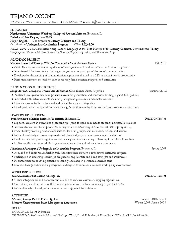 liberal arts resume by northwestern university career