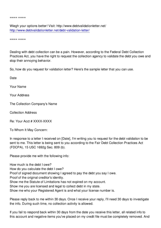 page_1 Sample Debt Validation Letter Template on credit card, free printable, printable hipaa,