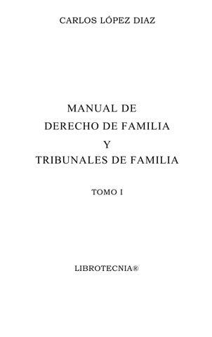Manual De Derecho De Familia Tomo I Carlos Lopez Diaz By