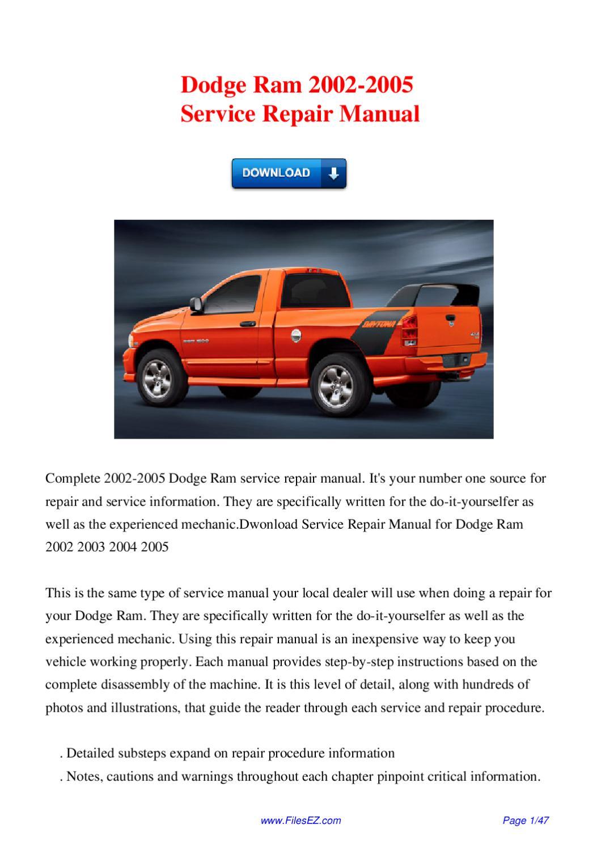 2002 dodge ram service manual