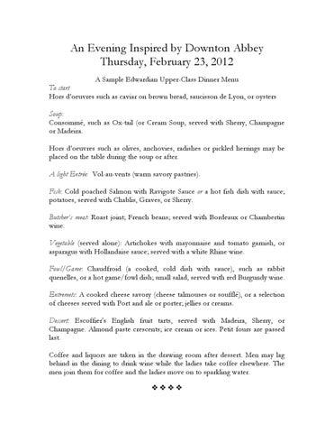 a sample edwardian upper class dinner menu by wgbh educational