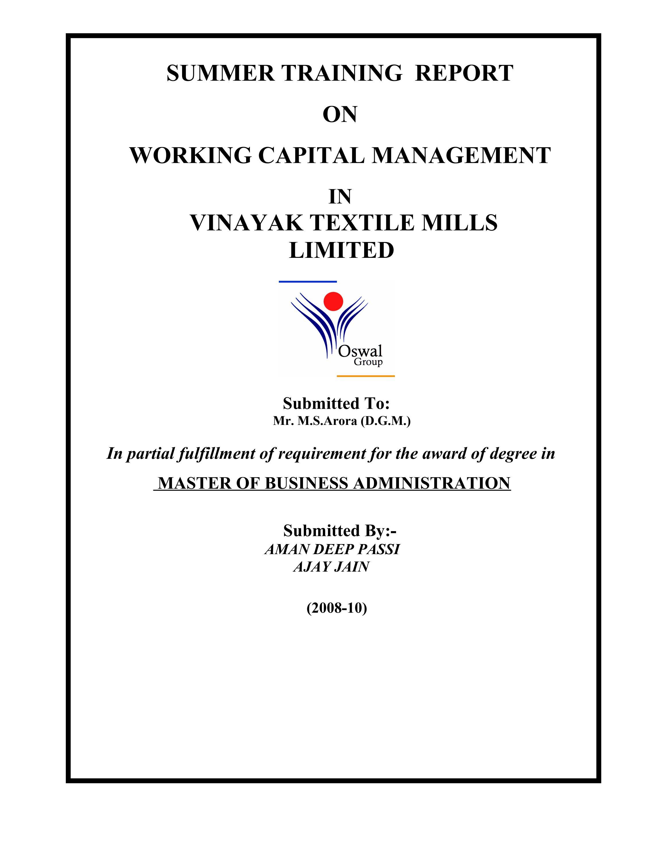 Working capital management in vinayak textile mills limited by working capital management in vinayak textile mills limited by sanjay gupta issuu geenschuldenfo Choice Image