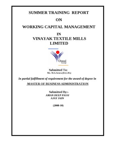 Tata Steel Working Capital Management Project Report Pdf