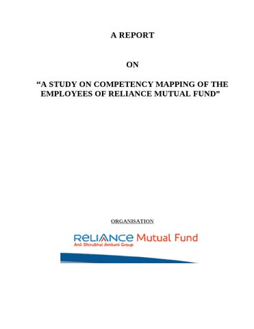 literature review of reliance mutual fund