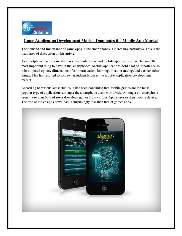 Game Application Development Market Dominates the Mobile App