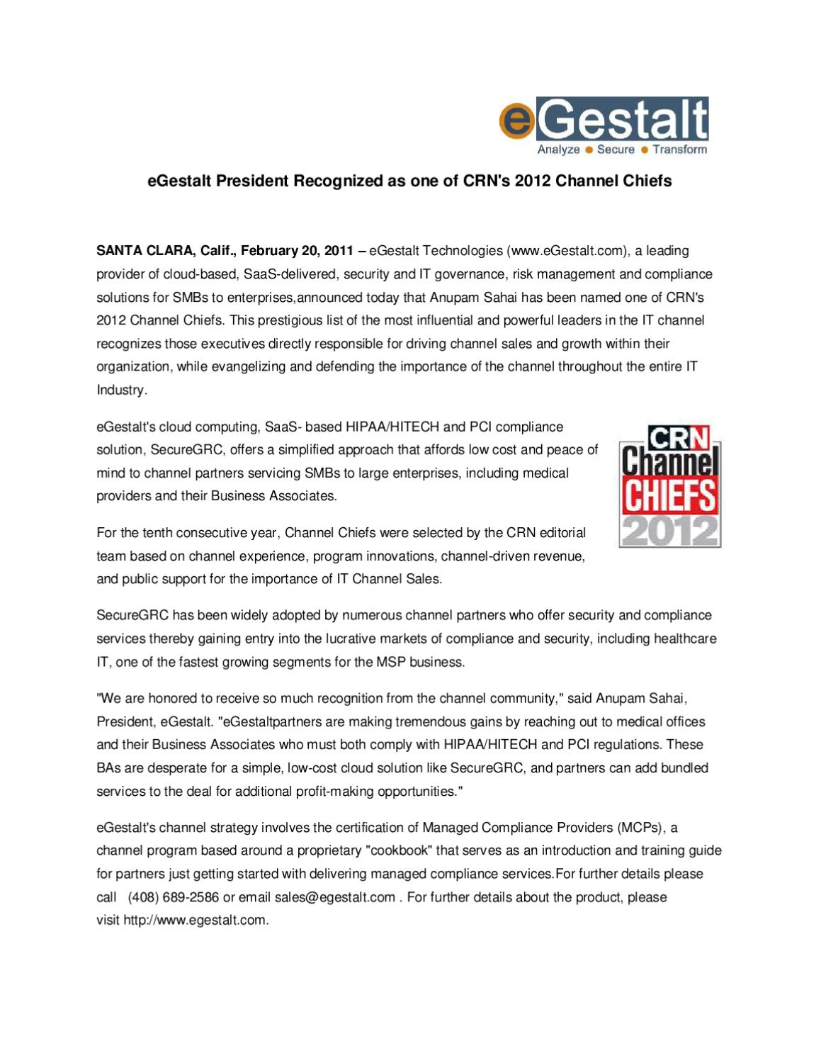 Egestalt President Recognized As One Of Crns 2012 Channel Chiefs By