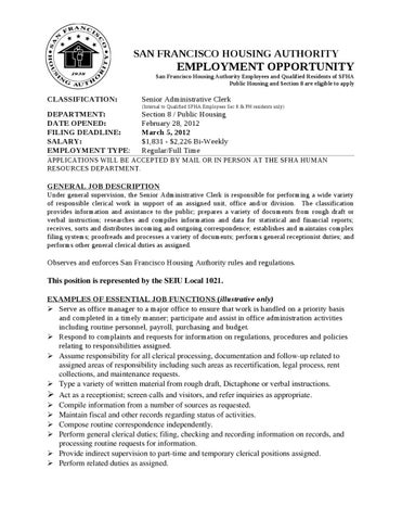 senior admin clerk job description by sfha   issuusenior administrative clerk job announcement