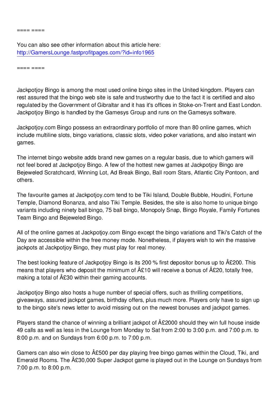 A JackpotJoy Bingo Review by Glinda Fletcher - issuu