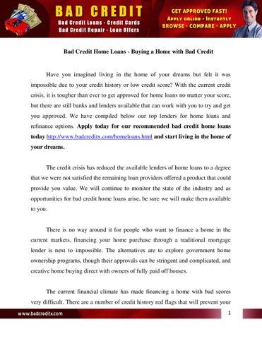 Bad Credit Home Loans by loginhar login - issuu