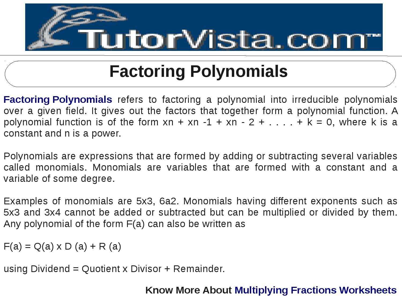 Factoring polynomials by tutorvista team issuu falaconquin