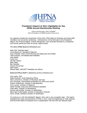 HPNA 2012 Annual Membership Meeting Agenda by Hospice and