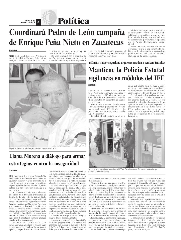 La Jornada Zacatecas Jueves 1 De Marzo Del 2012 By La