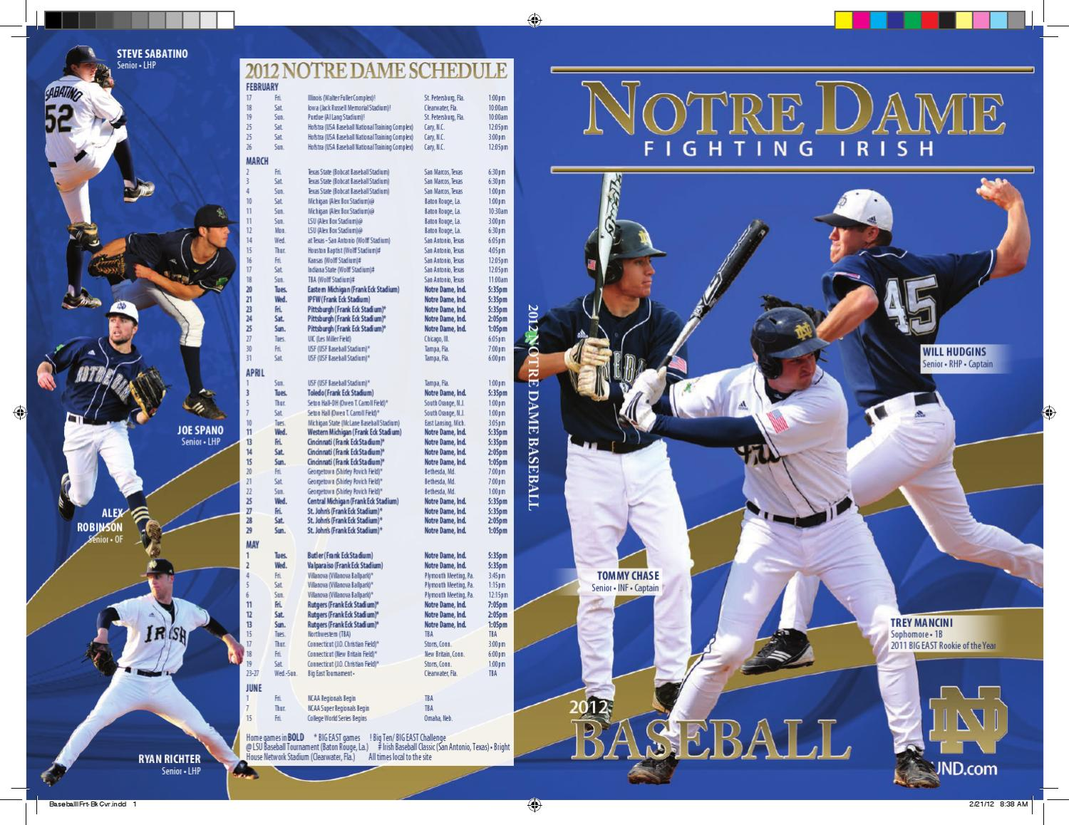 finest selection 1146c f213b 2012 University of Notre Dame Baseball Media Guide by Chris Masters - issuu