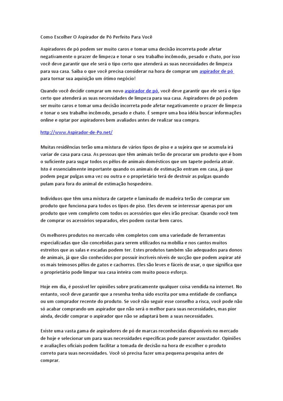 ded3d45c61 Aspirador de Pó - Como Escolher O Aspirador de Pó Perfeito Para Você by  Alfred Manch - issuu