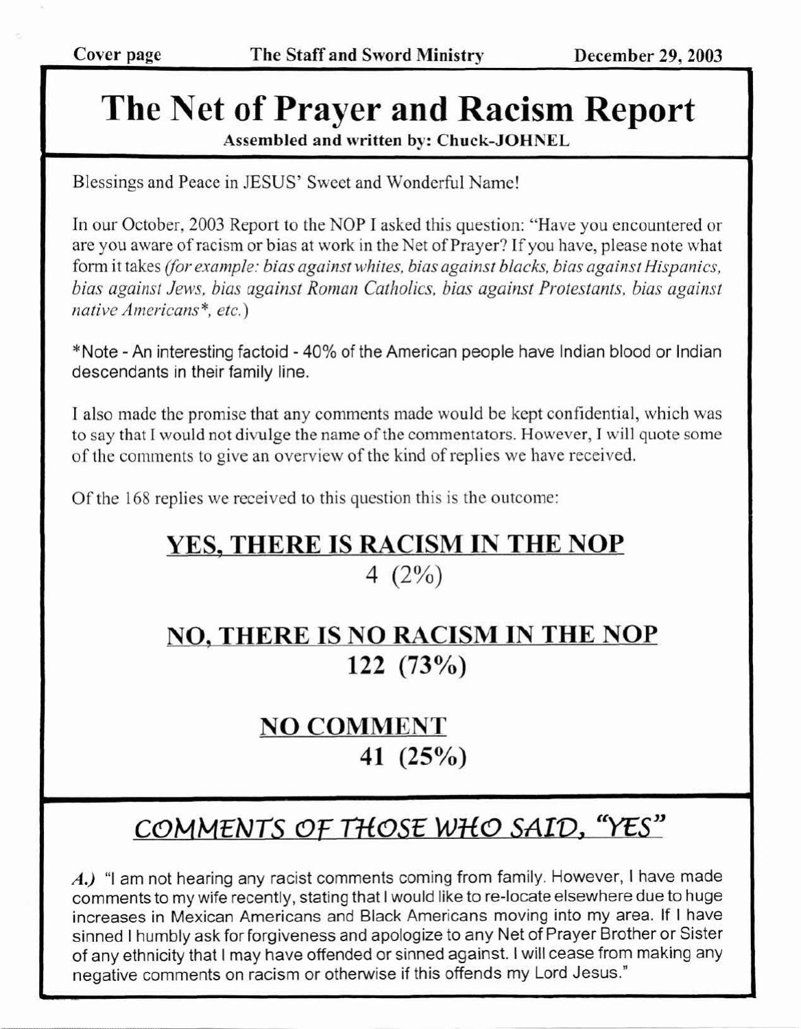 Dec 29th, 2003: : The Net of Prayer and Racism Report by