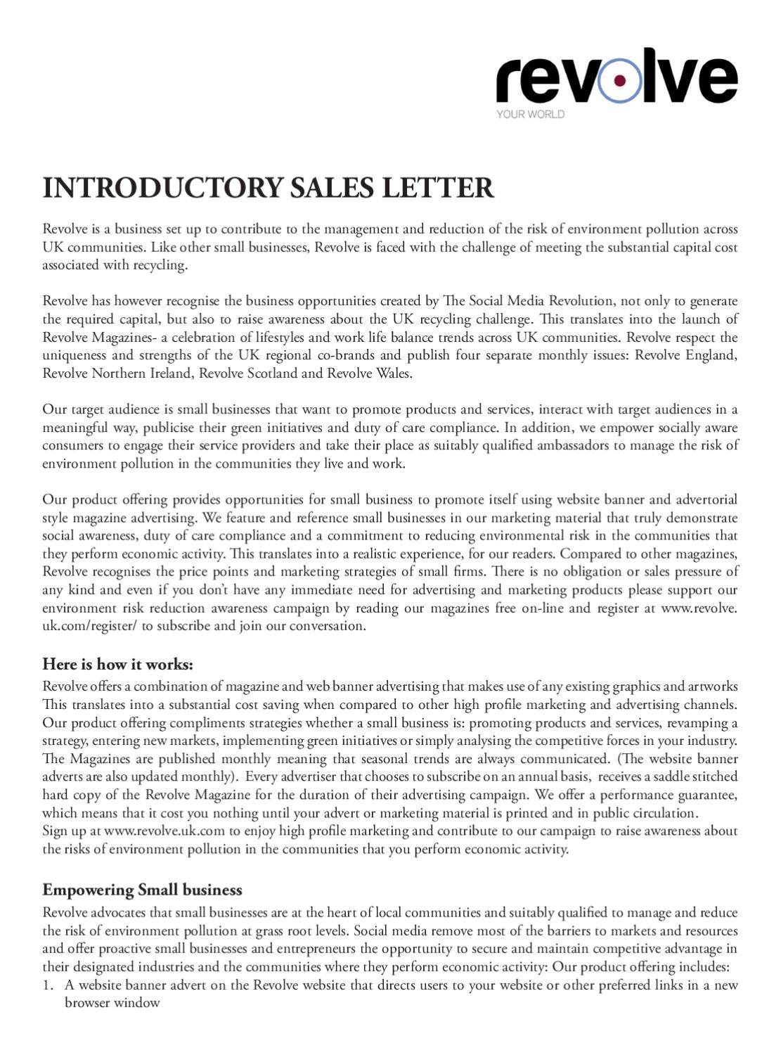 Introductory Sales Letter By Revolve Environmental Solutions Issuu