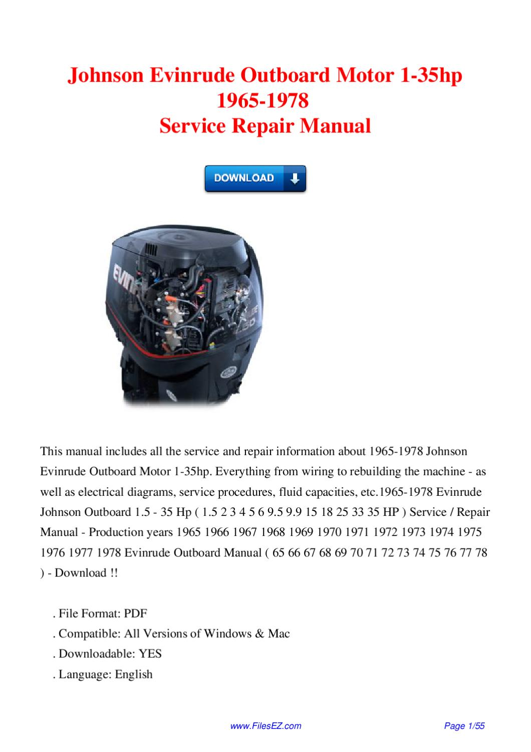 Johnson Evinrude Outboard Motor 1 35hp 1965 1978 Service Repair Gilera Gp800 Injection Wiring Diagram Manual By David Wong Issuu
